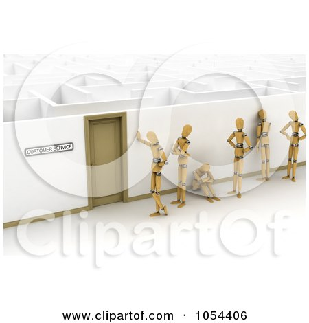 Royalty-Free Clip Art Illustration of a Line Of 3d Mannequins Waiting At A Door That Leads To A Maze by stockillustrations