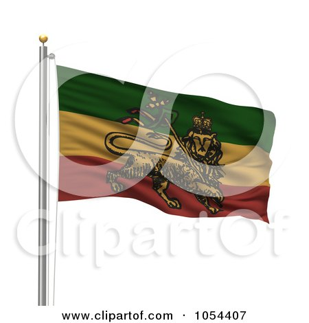 Royalty-Free Clip Art Illustration of a 3d Rastafarian Flag Waving On A Pole by stockillustrations