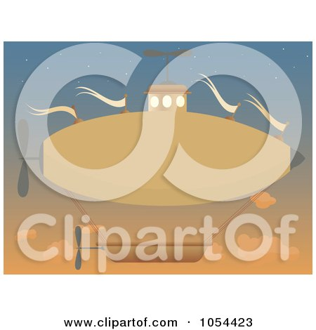 Royalty-Free Vector Clip Art Illustration of an Orange Airship In A Sunset Sky by mheld