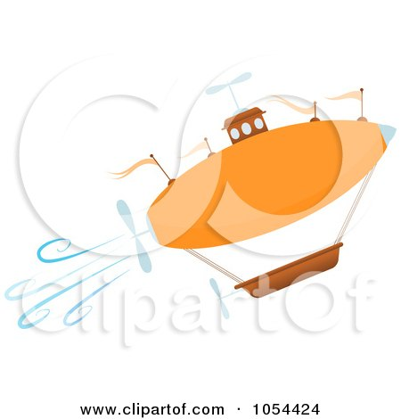 Royalty-Free Vector Clip Art Illustration of an Orange Airship Ascending by mheld