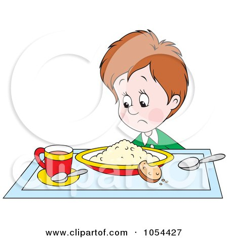 Royalty-Free Vector Clip Art Illustration of a Boy Glaring At His Breakfast by Alex Bannykh
