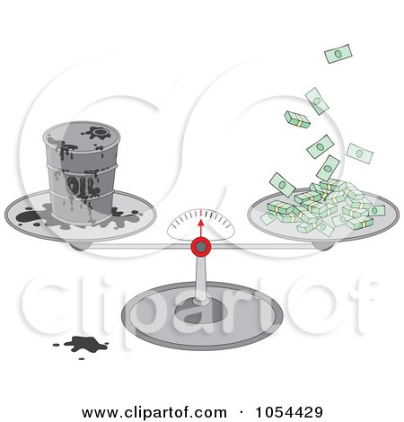 Royalty-Free Vector Clip Art Illustration of a Barrel Of Oil And Cash On A Scale by Alex Bannykh