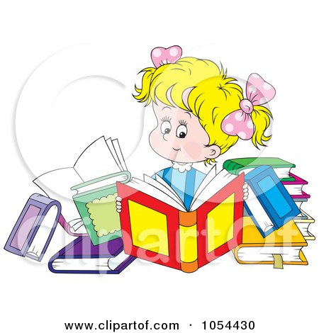 Royalty-Free Vector Clip Art Illustration of a Girl Reading Books by Alex Bannykh