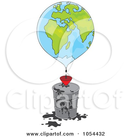 Royalty-Free Vector Clip Art Illustration of a Globe Dripping Oil Into A Barrel by Alex Bannykh