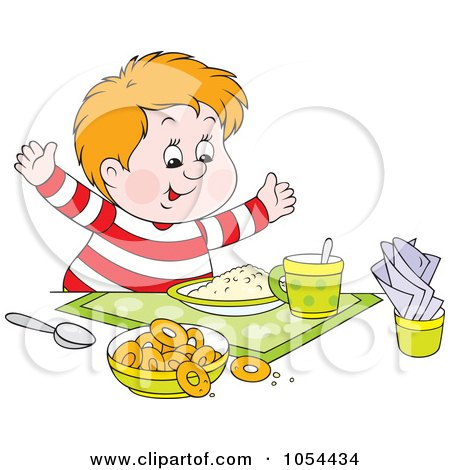 Royalty-Free Vector Clip Art Illustration of a Chubby Boy Ready For Breakfast by Alex Bannykh