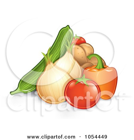 Royalty-Free Vector Clip Art Illustration of a Pile Of Veggies by TA Images
