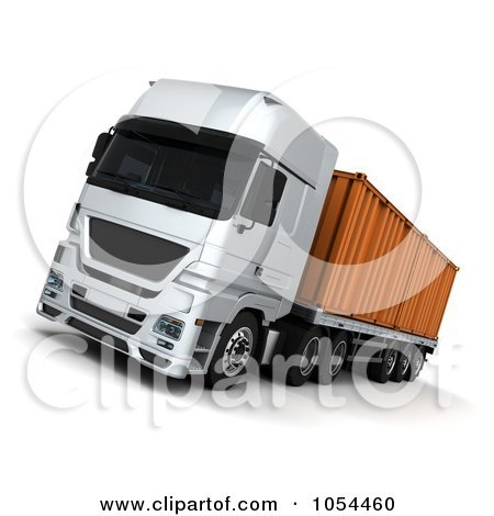 Royalty-Free Clip Art Illustration of a 3d Big Rig With A Container by KJ Pargeter