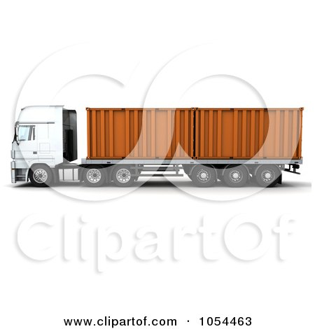 Royalty-Free Clip Art Illustration of a 3d Side View Of A Big Rig With Containers by KJ Pargeter
