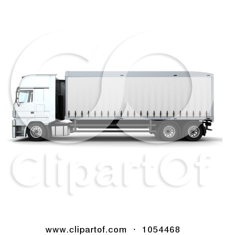 Royalty-Free Clip Art Illustration of a 3d Side View Of A Euro Truck by KJ Pargeter