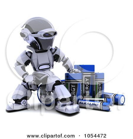 Royalty-Free Clip Art Illustration of a 3d Robot With Alkaline Batteries by KJ Pargeter