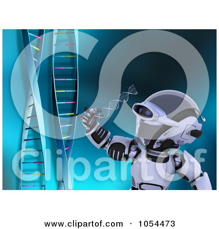 Royalty-Free Clip Art Illustration of a 3d Robot Examining DNA by KJ Pargeter