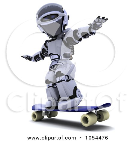 Royalty-Free Clip Art Illustration of a 3d Robot Skateboarding by KJ Pargeter