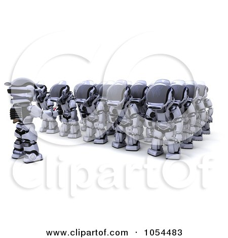 Royalty-Free Clip Art Illustration of a 3d Army Of Sleeping Robots by KJ Pargeter