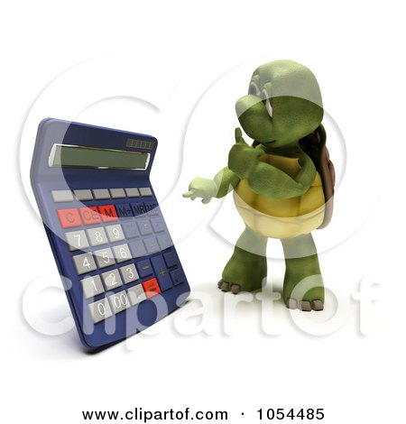 Royalty-Free Clip Art Illustration of a 3d Tortoise Using A Calculator by KJ Pargeter