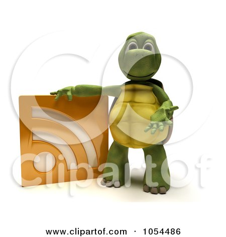 Royalty-Free Clip Art Illustration of a 3d Tortoise With An RSS Symbol by KJ Pargeter