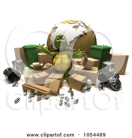 Royalty-Free Clip Art Illustration of a 3d Tortoise Recycling by KJ Pargeter