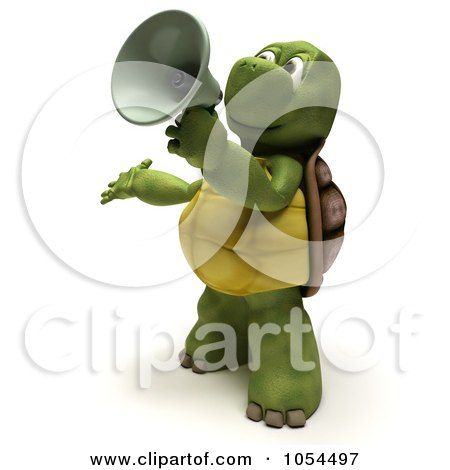 Royalty-Free Clip Art Illustration of a 3d Tortoise Announcing by KJ Pargeter