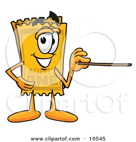 Clipart Picture of a Yellow Admission Ticket Mascot Cartoon Character Holding a Pointer Stick by Toons4Biz