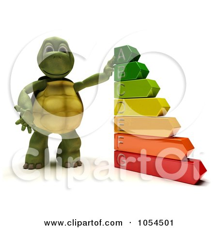 Royalty-Free Clip Art Illustration of a 3d Tortoise With An Energy Rating Chart by KJ Pargeter