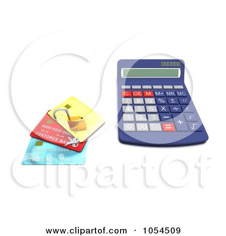 Royalty-Free Clip Art Illustration of a 3d Calculator With A Padlock And Credit Cards - 1 by KJ Pargeter