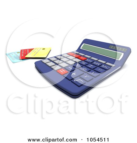 Royalty-Free Clip Art Illustration of a 3d Calculator And Credit Cards - 2 by KJ Pargeter