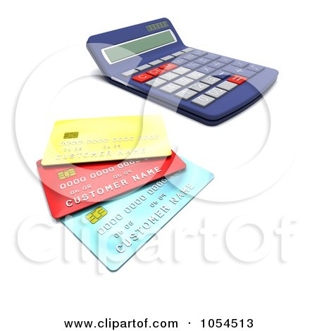 Royalty-Free Clip Art Illustration of a 3d Calculator And Credit Cards - 1 by KJ Pargeter