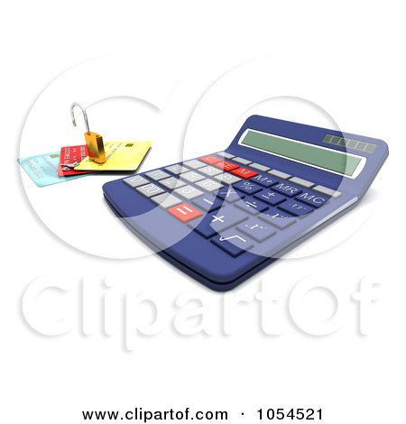 Royalty-Free Clip Art Illustration of a 3d Calculator With A Padlock And Credit Cards - 2 by KJ Pargeter