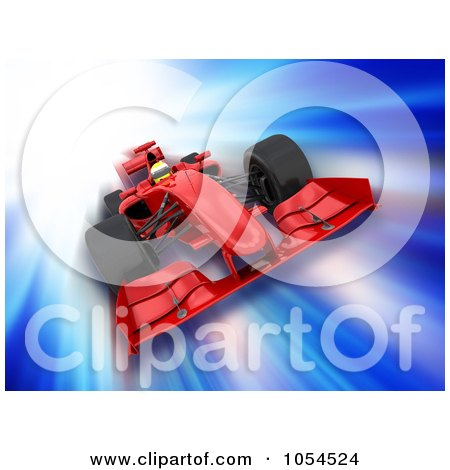 Royalty-Free Clip Art Illustration of a 3d Speeding Formula One Race Car On Blue by KJ Pargeter