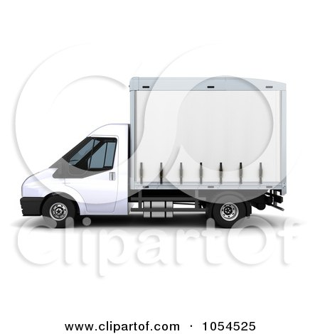 Royalty-Free Clip Art Illustration of a 3d Side View Of A Small Truck by KJ Pargeter