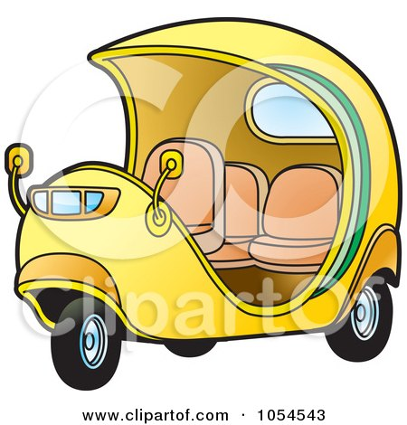 Royalty-Free Vector Clip Art Illustration of a Yellow Cuban Tuk Tuk by Lal Perera