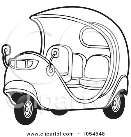 Royalty-Free Vector Clip Art Illustration of an Outlimned Cuban Tuk Tuk by Lal Perera
