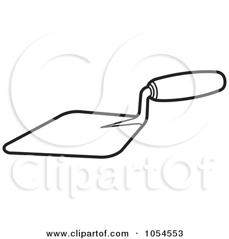 Royalty-Free Vector Clip Art Illustration of an Outlined Mason Trowel Tool by Lal Perera
