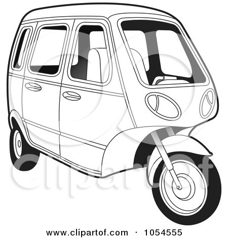 Royalty-Free Vector Clip Art Illustration of an Outlined Tuk Tuk by Lal Perera