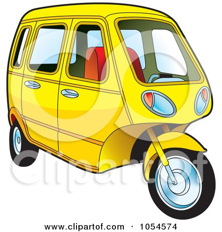 Royalty-Free Vector Clip Art Illustration of a Yellow Tuk Tuk by Lal Perera