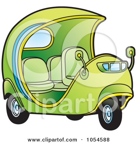 Royalty-Free Vector Clip Art Illustration of a Green Cuban Tuk Tuk by Lal Perera
