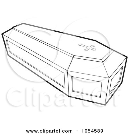 Royalty-Free Vector Clip Art Illustration of an Outlined Coffin by Lal Perera