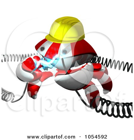 Royalty-Free Rendered Clip Art Illustration of a 3d Red Crab Engineer With Electric Cables - 1 by Leo Blanchette