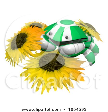 Royalty-Free Rendered Clip Art Illustration of a 3d Green Crab On Sunflowers by Leo Blanchette