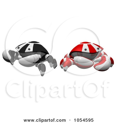 Royalty-Free Rendered Clip Art Illustration of 3d Red And Black Crabs by Leo Blanchette