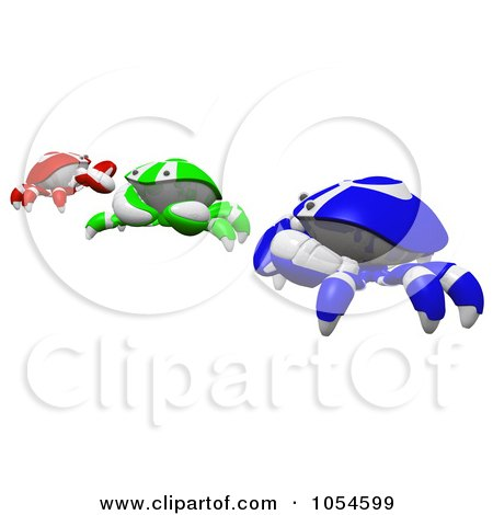 Royalty-Free Rendered Clip Art Illustration of 3d Blue, Green And Red RGB Crabs by Leo Blanchette