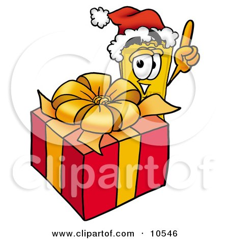 Clipart Picture of a Yellow Admission Ticket Mascot Cartoon Character Standing by a Christmas Present by Toons4Biz