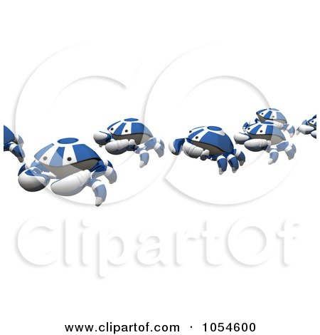 Royalty-Free Rendered Clip Art Illustration of a 3d Line Of Blue Crabs by Leo Blanchette