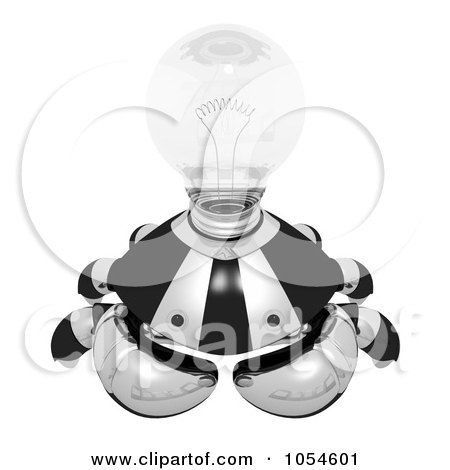 Royalty-Free Rendered Clip Art Illustration of a 3d Black Crab With A Clear Light Bulb - 2 by Leo Blanchette