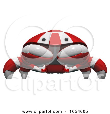 Royalty-Free Rendered Clip Art Illustration of a 3d Red Crab by Leo Blanchette