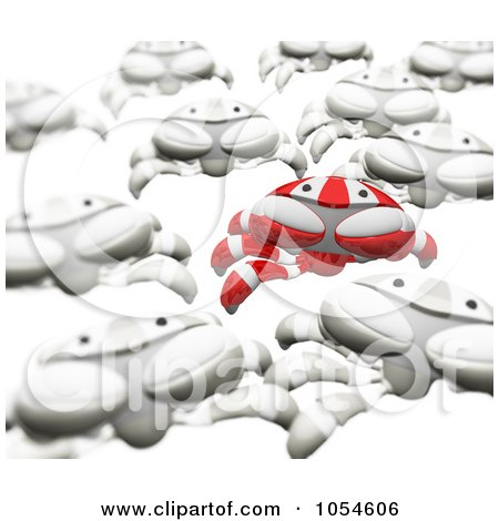 Royalty-Free Rendered Clip Art Illustration of a 3d Red Crab Leading An Army Of White Crabs by Leo Blanchette