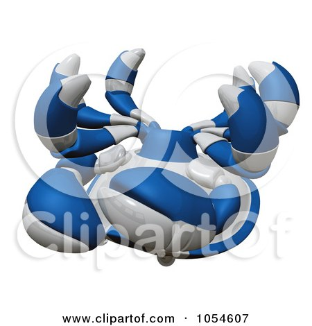 Royalty-Free Rendered Clip Art Illustration of a 3d Blue Tipped Crab by Leo Blanchette