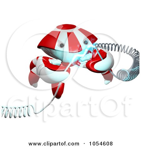 Royalty-Free Rendered Clip Art Illustration of a 3d Red Crab Holding Electrical Cables by Leo Blanchette