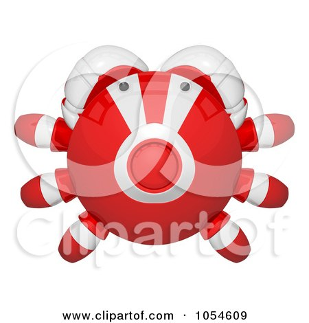 Royalty-Free Rendered Clip Art Illustration of a Top View Of A 3d Red Crab by Leo Blanchette