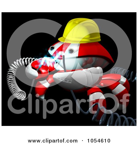 Royalty-Free Rendered Clip Art Illustration of a 3d Red Crab Engineer With Electric Cables - 2 by Leo Blanchette