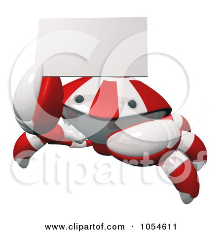 Royalty-Free Rendered Clip Art Illustration of a 3d Red Crab Holding A Business Card by Leo Blanchette